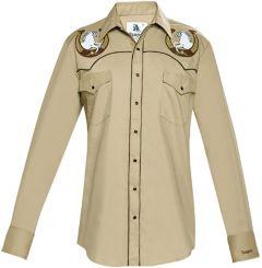Modestone Men's Embroidered Horse Horseshoe Fitted Western Shirt Khaki