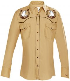 Modestone Men's Embroidered Horse Horseshoe Fitted Western Shirt Mustard