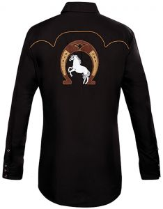 Modestone Men's Embroidered Horse Horseshoe Fitted Western Shirt Black