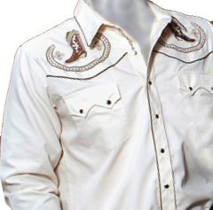 Modestone Men's Embroidered Long Sleeved Shirt Cowboy Boots & Filigree Beige