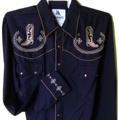 Modestone Men's Embroidered Long Sleeved Shirt Cowboy Boots Filigree Black