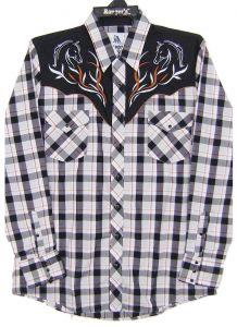 Modestone Men's Long Sleeved Shirt Checked Filigree Horse Heads Embroidered Black