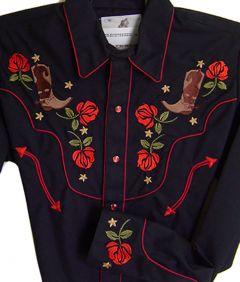 Modestone Men`s Embroidered Long Sleeve Shirt Rose Boots Rhinestones Black
