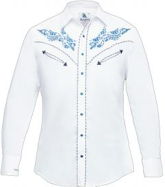Modestone Men's Embroidered Long Sleeved Fitted Western Shirt Filigree White