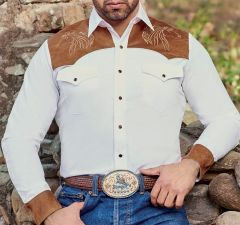 """Modestone Men's Embroidered Fitted Western Shirt Horse """"Super Suede"""" White"""