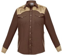 """Modestone Men's Embroidered Fitted Western Shirt Horse """"Super Suede"""" Brown"""