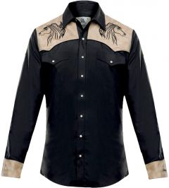 """Modestone Men's Embroidered Fitted Western Shirt Horse """"Super Suede"""" Black"""
