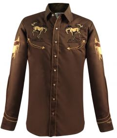 Modestone Men's Long Sleeved Fitted Western Shirt Horses Saddles Embroidered