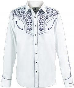 Modestone Men's Long Sleeved Fitted Western Shirt Filigree Embroidered White