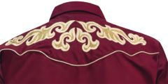 Modestone Men's Long Sleeved Fitted Western Shirt Filigree Embroidered Red