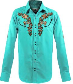 Modestone Men's Long Sleeved Fitted Western Shirt Filigree Embroidered Blue
