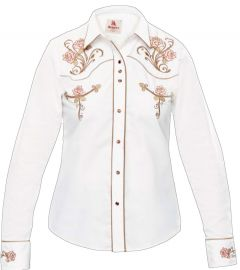 Modestone Women's Embroidered Fitted Western Shirt Floral White