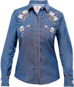 Modestone Women's Embroidered Fitted Western Shirt Floral Fushia