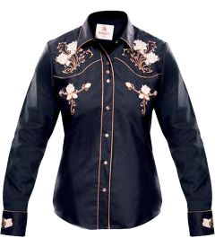 Modestone Women's Embroidered Fitted Western Shirt Floral Black