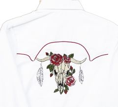 Modestone Women's Embroidered Long Sleeved Fitted Western Shirt Bull White