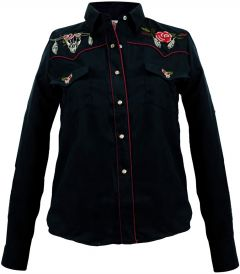 Modestone Women's Embroidered Long Sleeved Fitted Western Shirt Bull Black
