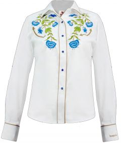 Modestone Women's Embroidered Long Sleeved Fitted Western Shirt Floral White