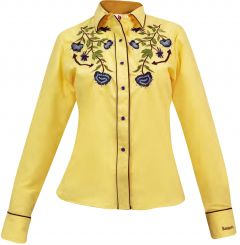Modestone Women's Embroidered Long Sleeved Fitted Western Shirt Floral