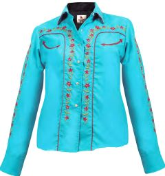 Modestone Women's Embroidered Long Sleeved Fitted Western Shirt Floral Blue