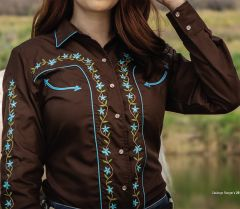 Modestone Women's Embroidered Long Sleeved Fitted Western Shirt Floral Brown
