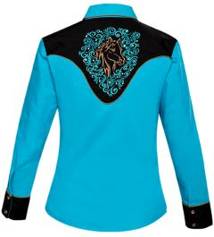 Modestone Women's Horse Embroidered Long Sleeved Fitted Western Shirt Blue