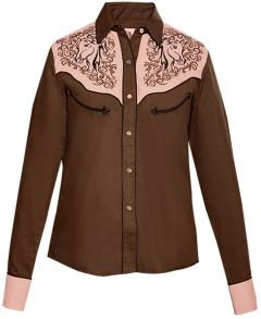 Modestone Women's Horse Embroidered Long Sleeved Fitted Western Shirt Brown