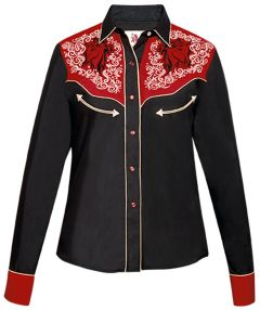 Modestone Women's Horse Embroidered Long Sleeved Fitted Western Shirt Black