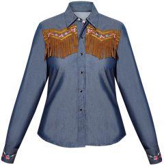 Modestone Women's ''Super Suede'' Fringe Fitted Western Shirt Denim Blue
