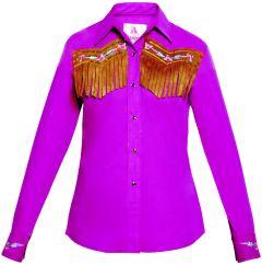 Modestone Women's ''Super Suede'' Fringe Fitted Western Shirt Purple