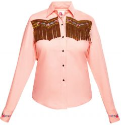 Modestone Women's ''Super Suede'' Fringe Fitted Western Shirt Pink