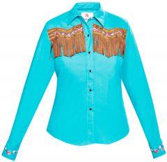 Modestone Women's ''Super Suede'' Fringe Fitted Western Shirt Blue