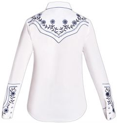 Modestone Women's Floral Embroidered Long Sleeved Fitted Western Shirt White