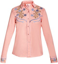 Modestone Women's Floral Embroidered Long Sleeved Fitted Western Shirt Pink