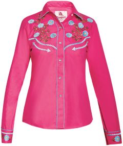 Modestone Women's Floral Embroidered Long Sleeved Fitted Western Shirt Fushia