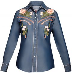 Modestone Women's Floral Embroidered Long Sleeved Fitted Western Shirt Denim Blue