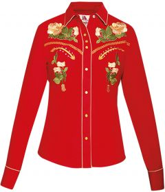 Modestone Women's Floral Embroidered Long Sleeved Fitted Western Shirt Red