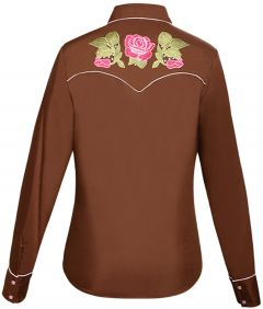 Modestone Women's Floral Embroidered Long Sleeved Fitted Western Shirt Brown