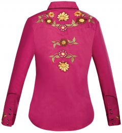 Modestone Women's Floral Embroidered Long Sleeved Fitted Western Shirt Purple