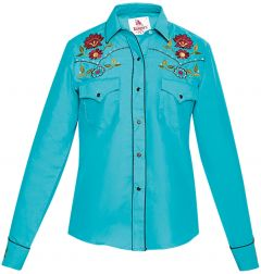 Modestone Women's Floral Embroidered Long Sleeved Fitted Western Shirt Blue