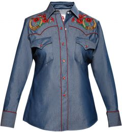 Modestone Women's Horseshoe Floral Embroidered Fitted Western Shirt Denim Blue