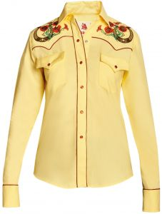 Modestone Women's Horseshoe Floral Embroidered Fitted Western Shirt Yellow