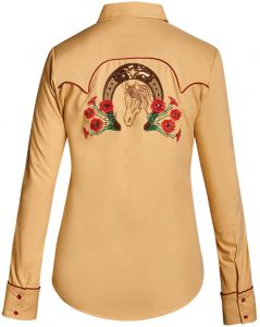 Modestone Women's Horseshoe Floral Embroidered Fitted Western Shirt Beige