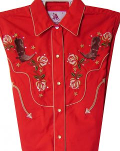 Modestone Women's Embroidered Long Sleeve Shirt Rose Boots Rhinestones red