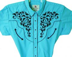 Modestone Women's Embroidered Short Sleeve Shirt Floral Turquoise