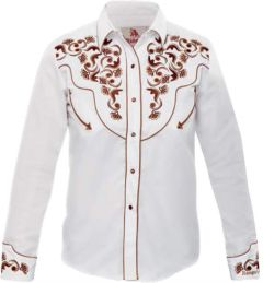 Modestone Women's Embroidered Long Sleeve Fitted Western Shirt Floral White