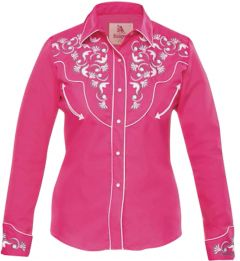Modestone Women's Embroidered Long Sleeve Fitted Western Shirt Floral Fuchsia