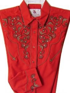 Modestone Women's Embroidered Long Sleeve Fitted Western Shirt Floral Red