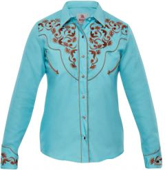 Modestone Women's Embroidered Long Sleeve Fitted Western Shirt Floral Blue