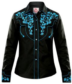 Modestone Women's Embroidered Long Sleeve Fitted Western Shirt Floral Black