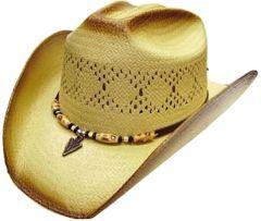 Modestone Men's Straw Cowboy Hat Beaded Arrow Head Hatband Light Beige